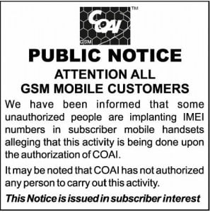 COAI Warns Mobile Users against IMEI Implant by Unauthorized Players