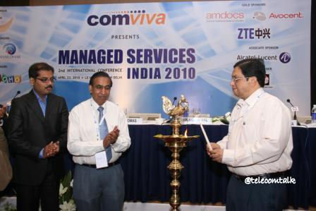 From L-R Mr. Mallikarjuna Rao, Chief Technology Officer Aircel, Shri R.K. Aggarwal, Director (Consumer Mobility) BSNL & Shri PJ Thomas, IAS, Secretary, DOT, Ministry of Communications & IT, Govt. of India lighting the inaugural lamp at Managed Services India 2010.