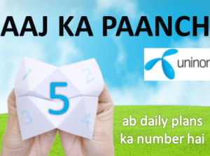 "Exclusive:Uninor Launches ""AAJ KA PAANCH"" Offers Priced At Rs.5"