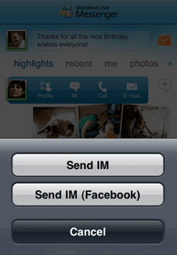 Update To The Windows Live Messenger Now With Facebook Chat on mobile