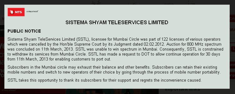 MTS India Asks Its Customers To Port Out With in 30 Days in Mumbai, Maharashtra and UP East