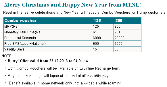MTNL New Year Special Combo Vouchers 125 and 355