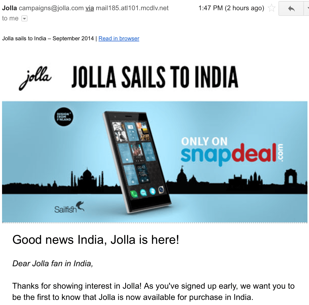 Jolla Phone Launched India
