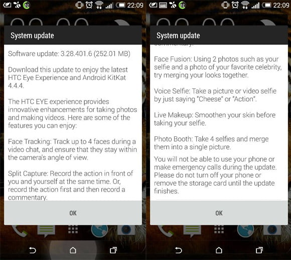 HTC One M8 Eye Experience Android 4.4.4 KitKat Update