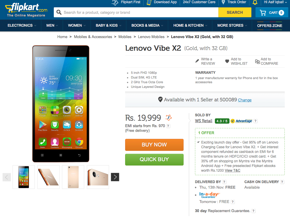 Lenovo VIBE X2 India Launch Price Offers