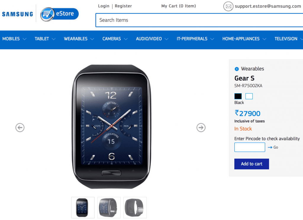 Samsung Gear S India Price Availability
