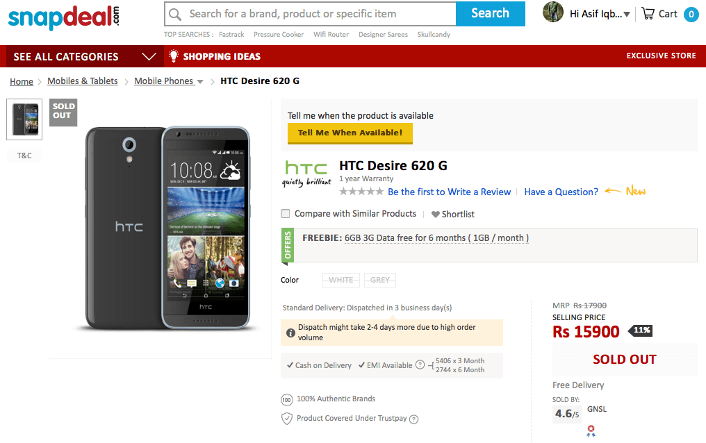 HTC Desire 620G Snapdeal