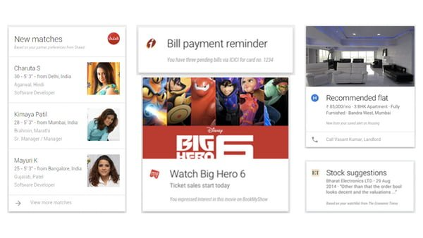 Google Now Cards Indian Apps