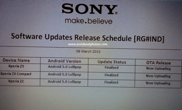 Sony Xperia Z2 Z3 Compact Android 5.0 Lollipop Update