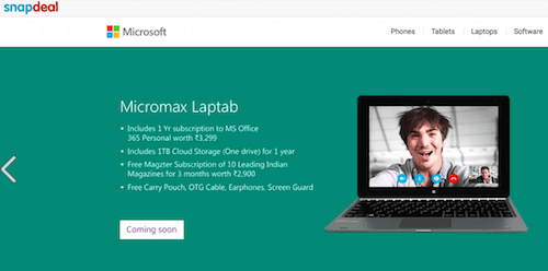 Microsoft store on snapdeal