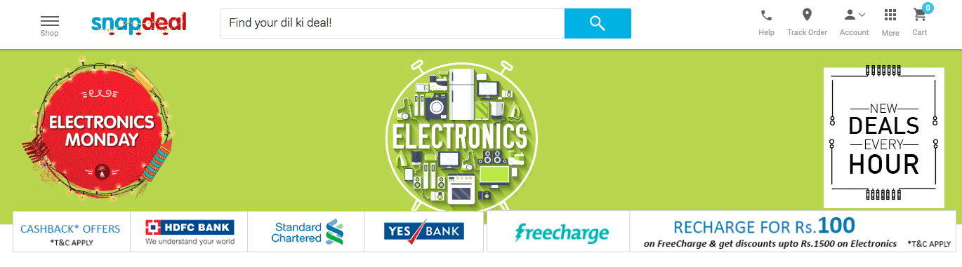 Snapdeal Electronics Monday 2015 Sale