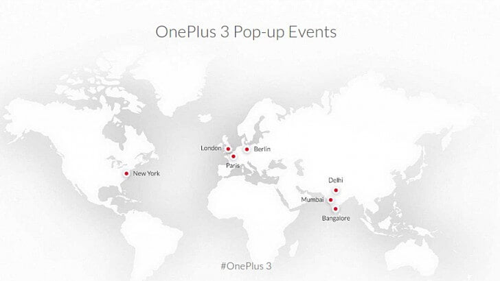 OnePlus 3 pop up shops