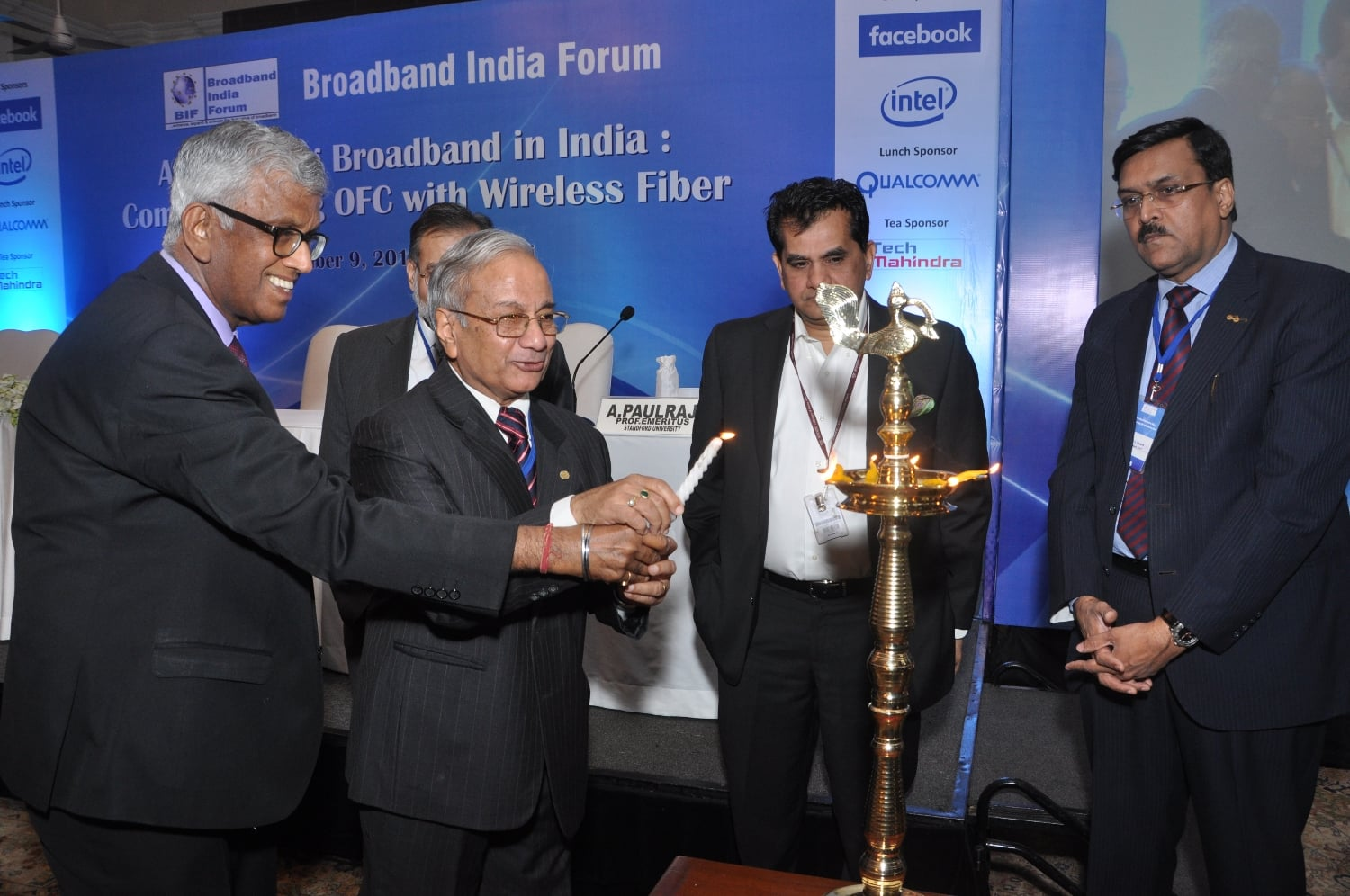Lighting the Inaugral Lamp on extreme Left Mr TV Ramachandra-President Broad Band India Forum and on the Extreme Right Mr J. S Deepak-Secretary, DOT
