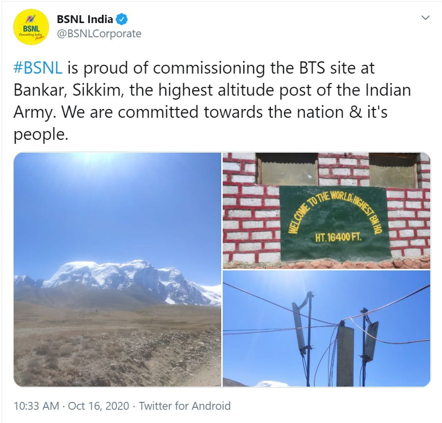 BSNL installs new BTS site at Bankar, Sikkim