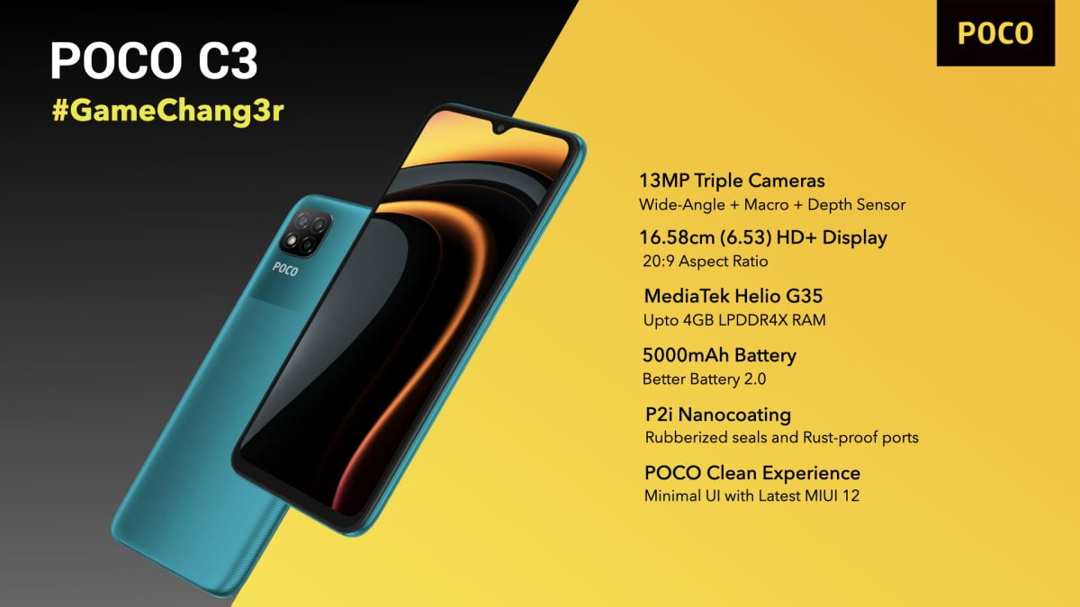 POCO C3 launched in India in two different variants