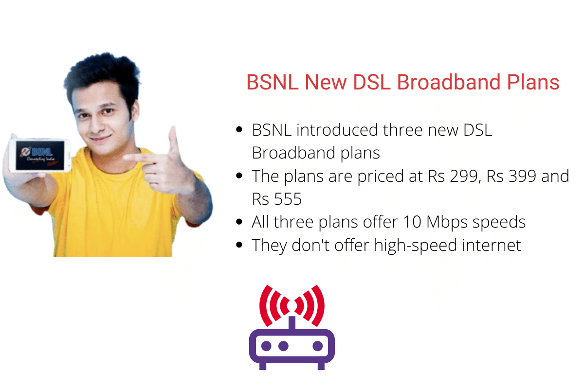 BSNL Launches Rs 299, Rs 399 and Rs 555 DSL Broadband Plans - TelecomTalk